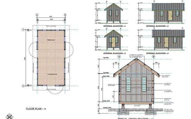 Architects plans of a simple two room house