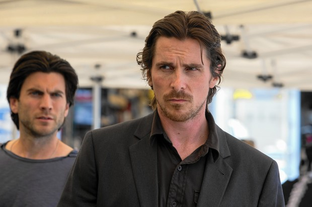 Christian Bale as troubled screenwriter Rick with even more troubled brother Barry (Wes Bentley) in Malick's Knight of Cups