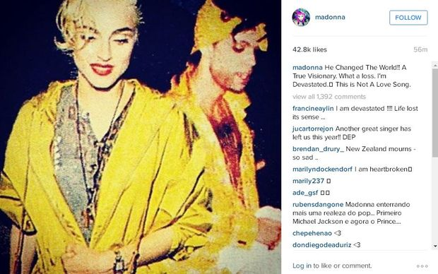 Madonna pays tribute to Prince on Instagram.