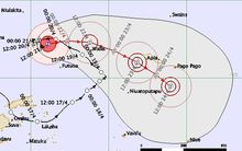 Tracking map for cyclone Amos