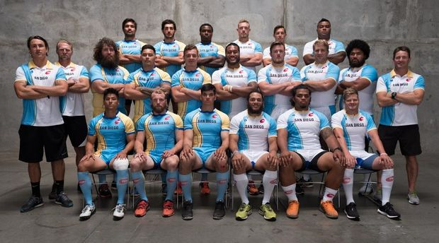 The San Diego team pose for the camera ahead of their PRO Rugby debut.