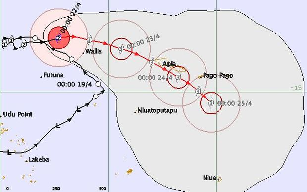 The current forecast for Cyclone Amos, passing close to Samoa's southern coast as a category three.