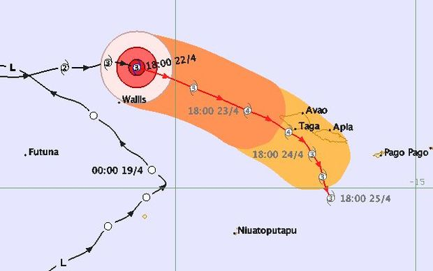 A map predicting the path and strengths of Cyclone Amos on Saturday. It is expected to affect most of Samoa as a category four.