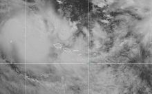 A satellite image of Cyclone Amos as it nears Samoa, supplied by the US National Weather Service.