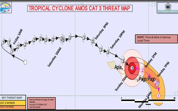 Latest threat tracking map for tropical cyclone Amos