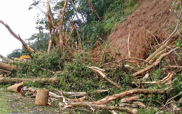 Landslide following cyclone Amos