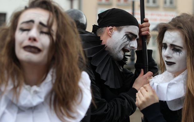 Costumed mourners march in Gdansk, Poland, to mark the 400th anniversary of the death of English playwright William Shakespeare.