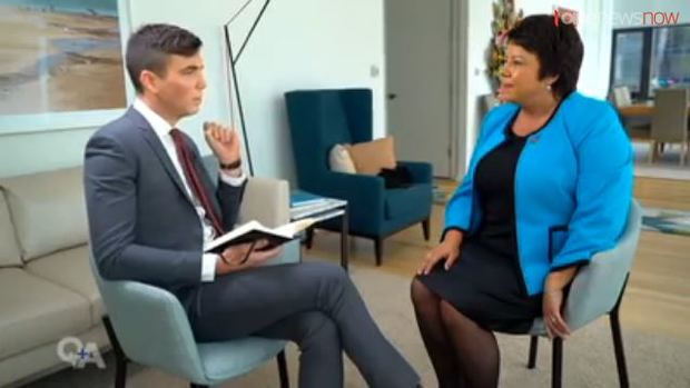 "Paula Bennett in New York questioned on New Zealand's used of ""junk carbon credits"" by TVNZ's Q+A show last weekend"