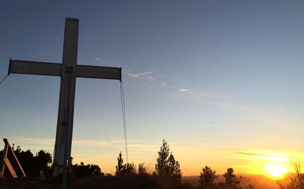 Claire Bibby sent this stunning picture of the Anzac Cross at dawn in Tinui, Wairarapa.