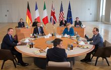 From left, British Prime Minister David Cameron, US President Barack Obama, Italian Prime Minister Matteo Renzi, German Chancellor Angela Merkel and French President Francois Hollande.
