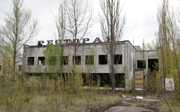 Abandoned restaurant building in the Chernobyl nuclear plant's exclusion zone.