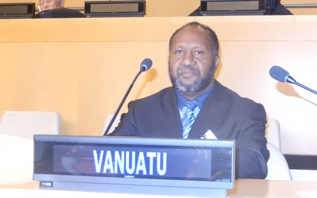 Vanuatu's prime minister, Charlot Salwai, at the United Nations General Assembly in New York.