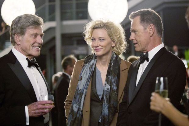 Blanchett (Mary Mapes) and Bruce Greenwood (CBS News Chief Andrew Heyward) during cocktail hour in James Vanderbilt's Truth