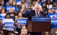 Vermont senator Bernie Sanders speaks to a crowd at the Royal Farms Arena in Baltimore, Maryland.