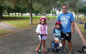 Albert Trail with his children, Nalani and Jacob, says restricting fast food outlets would remove temptation.