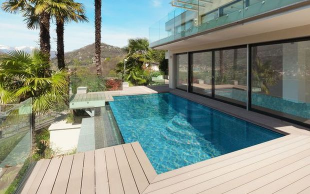 Pool with glass balustrade (stock photo)