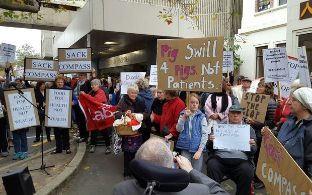 Protesters outside Dunedin Hospital said the food wasn't good enough for patients.