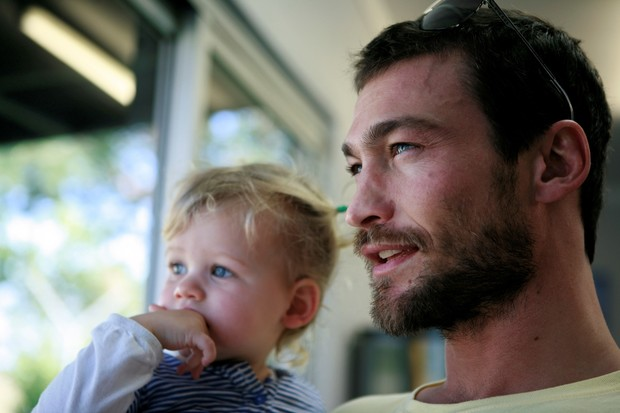 Andy Whitfield and child