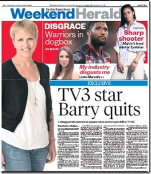 The front page of the Weekend Herald dominated by Hilary Barry quitting TV3.