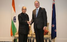 India's President Pranab Mukherjee and Prime Minister John Key