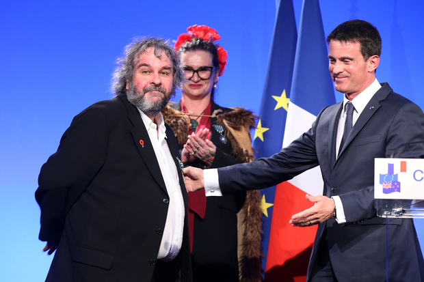 Sir Peter Jackson, Fiona Pardington and French Prime Minister Manuel Valls.