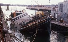 French spies detonated two mines attached to the side of the Rainbow Warrior, as it sat in dock at Auckland's Marsden Wharf in July 1985.