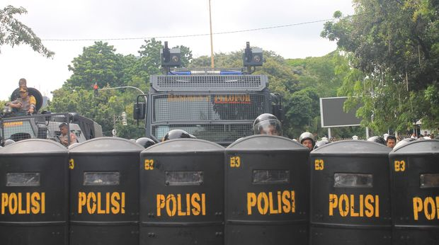 Indonesian police at a demonstration in the Papuan region