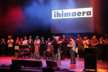 Ihimaera cast on stage with Witi by Emma Robinson.
