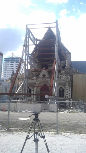 A recent photo of the remains of ChristChurch Cathedral.