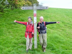 Heather and Nigel Roberts at the half-way mark of their 15-day, 177-mile hike along Britain's Offa's Dyke Path