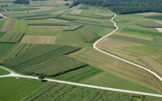 Aerial view of farm land (stock image)