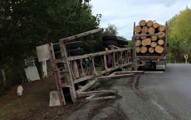 A recent log truck rollover in the same spot on Otaika Valley Road.