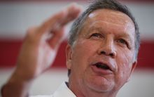 John Kasich at a campaign event on 25 April in Maryland.