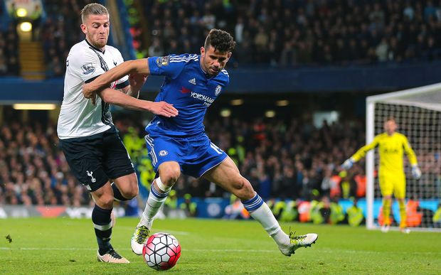 Chelsea Forward Diego Costa feels pressure from Tottenham Hotspur Defender Toby Alderweireld during a Chelsea attack