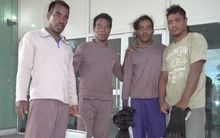 Kiribati drifters spent 26 days at sea before their rescue by Koo's 102 fishing boat on April 18. Photographed at Majuro hospital, from left Moamoa Kamwea, Tatika Ukenio, Bonibai Akau and Boiti Tetinauiko