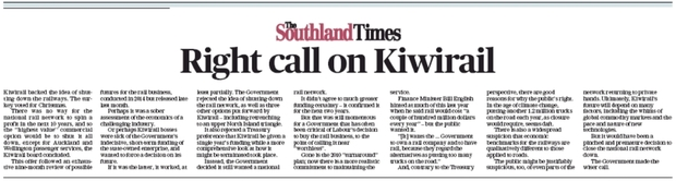 Monday's editorial on Kiwirail in The Southland Times