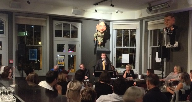 MP David Seymour speaks during the 2016 media freedom debate fundraiser.