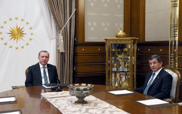 Turkish President Recep Tayyip Erdogan meets with Turkish Prime Minister Ahmet Davutoglu at the Presidential Complex in Ankara, Turkey on May 4, 2016.