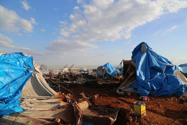 A view of the Kamouna refugee camp damaged after a Syrian regime warcraft targeted Kamouna refugee camp near the Sarmada town of Idlib province, Syria on May 05, 2016.