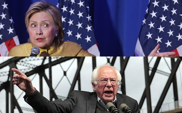 Hilary Clinton is on top of Bernie Sanders in all the major results, but Sanders is refusing to back down.