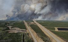 The Fort McMurray wildfire has spread across 100,000 hectares, with officials saying it could double in size today.