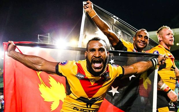 PNG celebrate beating Fiji in the 2016 Pacific Test.