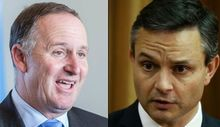 Prime Minister John Key (L) and Green Party co-leader James Shaw
