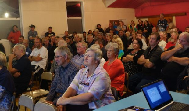 Residents at a public meeting on the number of log truck accidents on Otaika Valley Road, Whangarei.