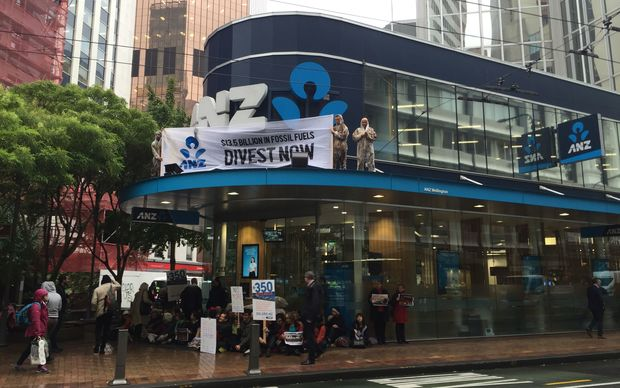 Protesters scaled the ANZ building on Lambton Quay, Wellington.