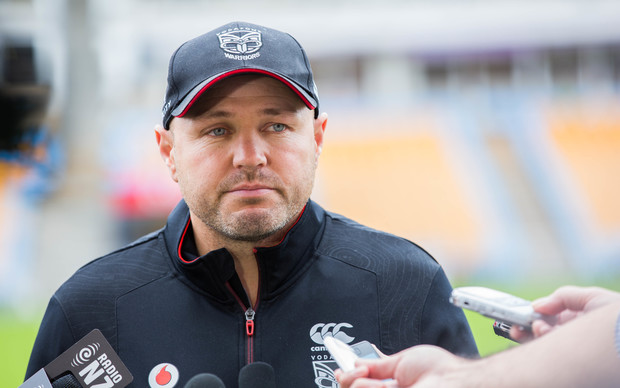 Warriors coach Andrew McFadden speaking to media at Mount Smart Staduim, 11 May 2016.