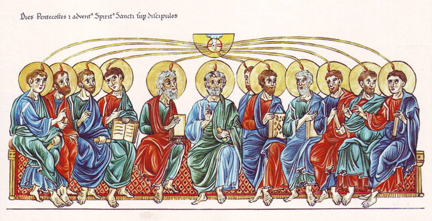 Medieval western illustration of the Pentecost from the Hortus deliciarum of Herrad of Landsberg (12th century)