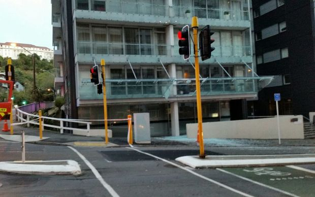 The remains of the large glass balcony after it fell off a high rise in central Wellington.