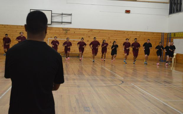 Porirua College students and their mentors do a beep test as part of the police initiative.