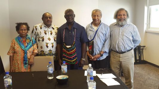 United Liberation Movement for West Papua members Mama Yosepha Alomang, Edison Waromi, AndyAyamiseba and Jacob Rumbiak with the Solomon Islands prime minister Manasseh Sogavare (centre),